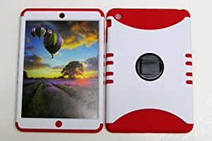 SHOCKPROOF HYBRID COVER PROTECTOR FACEPLATE HARD CASE AND RED SKIN WITH MINI STYLUS PEN. KOOL KASE ROCKER FOR APPLE IPAD MINI WHITE GR-A008-BH