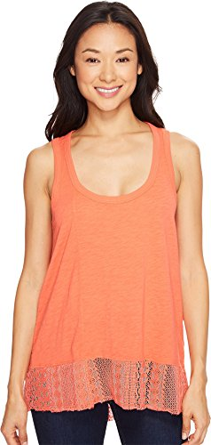 Dylan by True Grit Women's Soft Slub Knit Tank Top with Lace Rib Border Washed Coral Tank Top