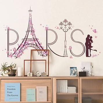 Nikgic Romantische Liebhaber In Paris Muster Entfernbare Wandtattoo  Wasserdichte Wandaufkleber Wandbild Für Haus Schlafzimmer Wohnzimmer  Wanddekoration