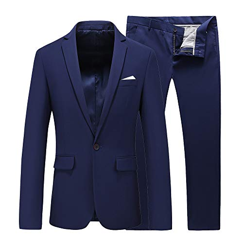 UNINUKOO Mens Slim Fit 2 Piece Single Breasted Jacket Party Prom Tuxedo SuitsUS Size 40 (Label Size 4XL) Navy Blue