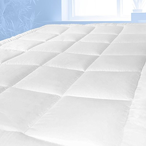 Mattress Topper & Mattress Pad Protector In One - Plush Luxury Down Alternative Pillow Top - Make Your Bed Luxurious - Deep Pockets Queen Size by Pure Brands (Queen Mattress Bed Bug Cover)