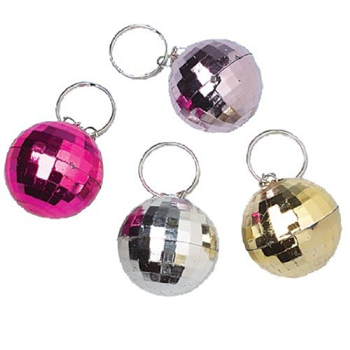 Metallic Ring Key (Dozen Assorted Color Metallic Disco Ball Key Chains Key Rings)
