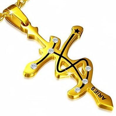 Petit pendentif acier signe zodiaque belier