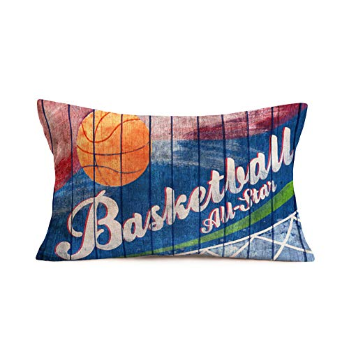 Smilyard Basketball Throw Pillow Covers Cotton Linen Wood Grain Brown Basketball Print Pillow Case 12x20 Inch Cushion Cover Decor Home Sofa BedroomRectanglePersonalized Pillow Cover (FGB 07) -