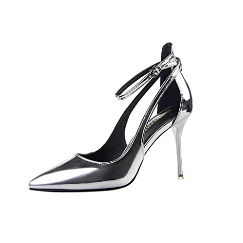 Fashion Simple Sandals Heels heeled Cjc Elegant Silver High Sexy Shallow Thin Mouth High Baotou xqPxvS