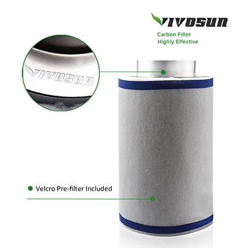41xwGNCNIhL - VIVOSUN 6 Inch Air Carbon Filter Odor Control with Australia Virgin Charcoal for Inline Fan, Pre-filter Included, Reversible Flange