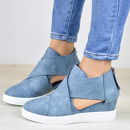 Wedges Solid Sexy Color Zipper Blue Fashion Shoes Hollow Party Cross Increase Shoes FALAIDUO Casual Matte Inside Women zwtOqnxRAS