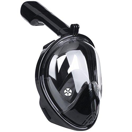 Das Leben Tauchmaske, vollmaske mit 180 Grad Blickfeld für Erwachsene und Kinder, gegen Dunst (schwarz, S)