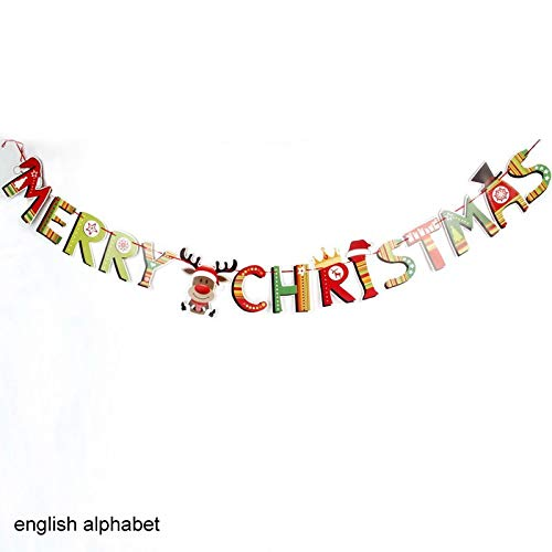 VietHandmade Pendant & Drop Ornaments - Banner Flag Santa Snowman Parachute Garlands Christmas Decor Home Garden New Year Festive Party Supplies Paper Tag 1 PCs