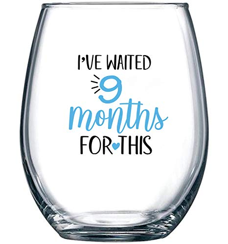 I've Waited 9 Months for This - Wine Glass 15oz - | Funny Personalized Novelty Stemless Glass Gifts for Expecting Boy Mom Pregnant Women | Birthday, Expectant Mothers, Newborns, Mother's Day (Blue)