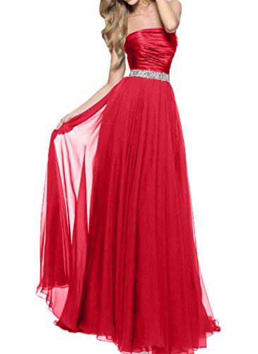 Brautjungfernkleider Chiffon Charmant Damen linie langes A Neu Rock Festlichkleider Rot Abendkleider Schwarz aUCSCXxwq