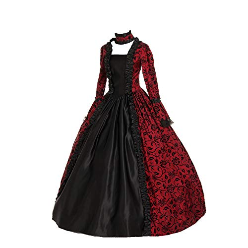 CountryWomen Renaissance Gothic Dark Queen Dress Ball Gown Steampunk Vampire Halloween Costume (L, Red and Black)