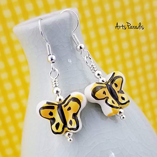 - Ceramic Butterfly Dangle Earrings Yellow and Black by ArtsParadis - Spring Garden Insect