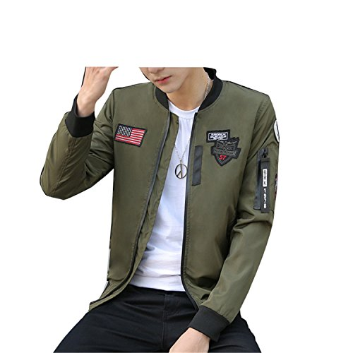Navy Flight Suit Patches (Rohuquhua Navy With Patches Mens Flight Jacket Patch Bomber Pilot Flight Jacket Men, DA112 Army Green L)