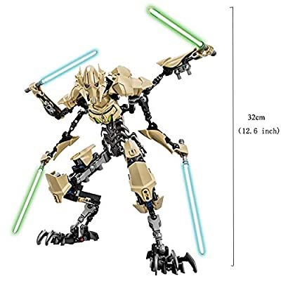 E FLY Star Wars Buildable Figure Building Block Stormtrooper Darth Vader Kylo Ren Chewbacca Boba Jango Fett Action Figure Toy for Kids (General Grievous): Toys & Games