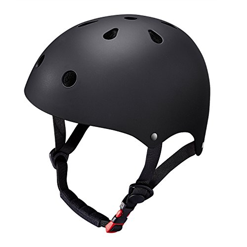 KuYou Kid's Skateboarding Helmet,Ultimate Adjustable ABS Shell for Children Cycling /Skateboard/Scooter/ Skate Inline Skating /Rollerblading Protective Gear Suitable Boys/Girls.(S Black)