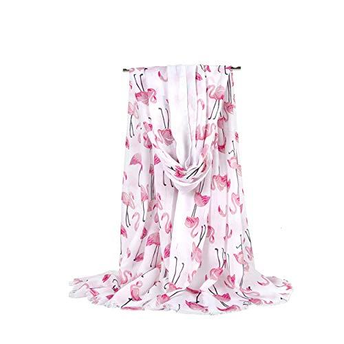 - Women's Cotton Scarf Fashion Sunscreen Shawls Wraps Scarves - Flamingo White