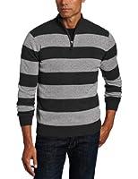 Williams Cashmere Men's Mock-Neck Stripe Sweater
