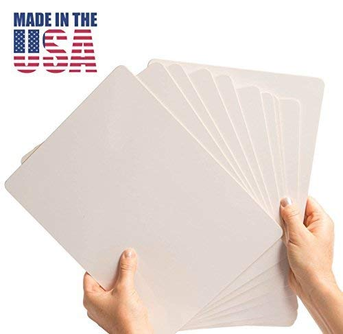 Dry Erase Lap Board Set (10 Pack) Double Sided, 9 x 12 Inch, Frameless, Individual Whiteboards for Students