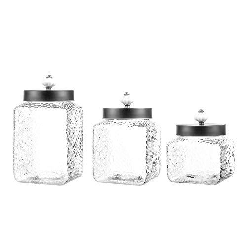 (Style Setter Square Canister Set 3-Piece Glass Jars in 43, 64 and 75 ounces Chic Retro Design with Airtight Stainless Steel Lids for Cookies, Candy, Coffee, Flour, Sugar, Rice, Pasta and More Hammered)