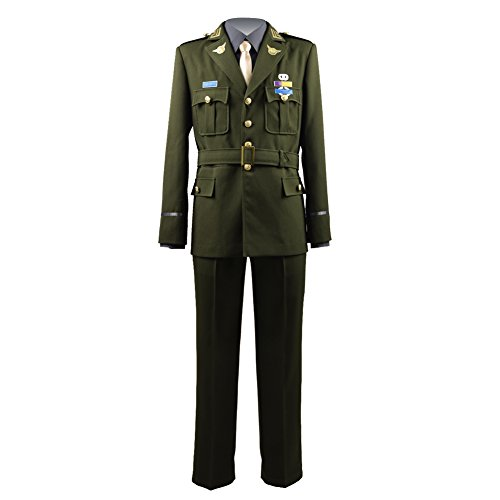 TISEA Men's America Army Officer Uniform Hero Captain Cosplay Suit (L, Army Green)