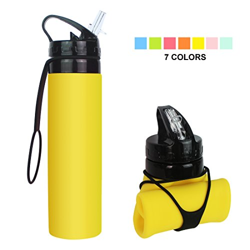 Fengyuan Collapsible Water Bottle, BPA-Free Leak-Proof Lightweight Silicone Sports Travel Camping Water Bottles, Yellow