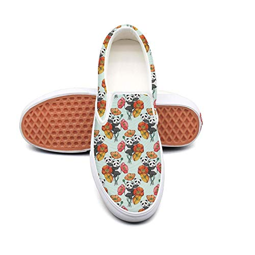 Bear Feet Flower Power - Sernfinjdr Women's Panda Bear Poppy Flower Fashion Casual Canvas Slip on Shoes Designer Golf Sneaker Shoes