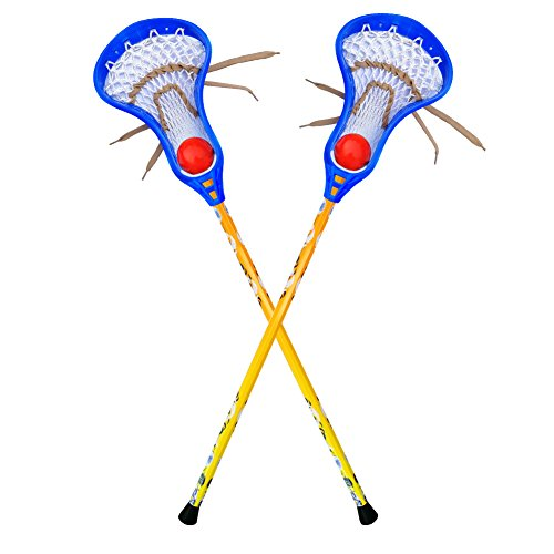 Youper Lacrosse Stick Set with Two Aluminum Sticks & Two Balls for Kids (Blue Head) - Cow Net Leather