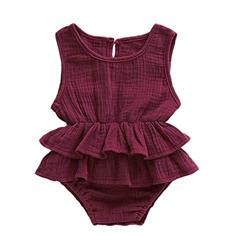 Lzxuan Newborn Infant Baby Girls Sleeveless Romper Linen Striped Jumpsuit Outfit Ruffles Playsuit Red ()