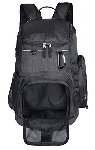 MIER Large Sports Backpack w/Pocket for Swim, Outdoor, Gym, Basketball, 40L, Black