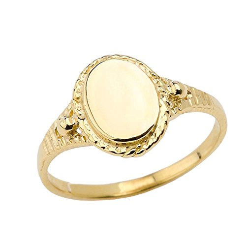 (Enchanting 10k Yellow Gold Milgrain Engravable Oval Signet Ring (Size 6.75))