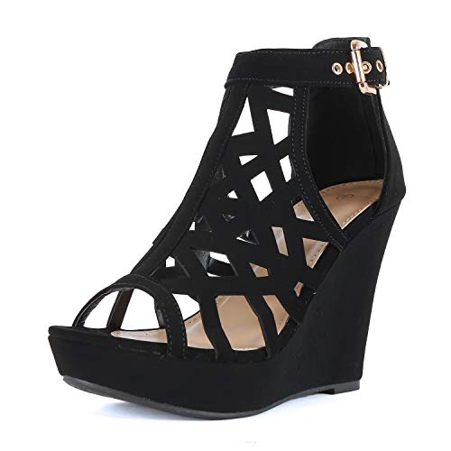 - Guilty Heart - Womens Comfortable Open Toe Cut Out Platforms Wedge Sandal (5 B(M) US, Blackv3 Pu)