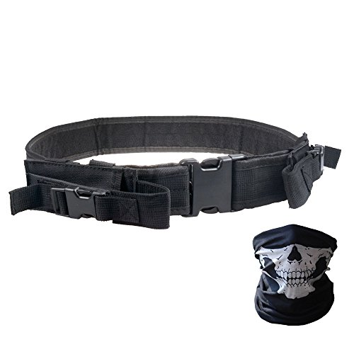 Tactical Belt - Heavy Duty Elite Law Enforcement Gear Utility Pistol Belt with Dual Mag Pouches - Bundled With Skull Face Tube Mask(Black 42'')