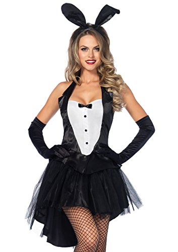 Leg Avenue Women's 3 Piece Tux And Tails Bunny Tuxedo Costume, Black/White, Medium/Large (Bunny Halloween Costumes For Women)