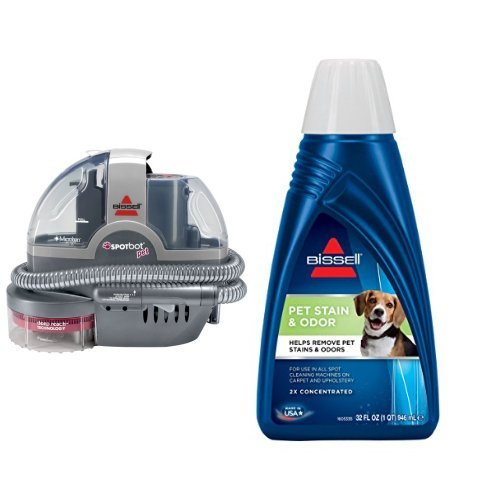 Pet Stain Remover Bundle - SpotBot Pet Spot and Stain Cleaner + Bissell 2x Pet Stain and Odor Portable Machine Formula, 32 oz by Bissell