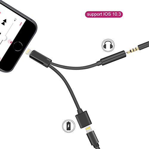 GPDSTAR iPhone Adapter,2 in 1 Lightning Charger and Adapter Cable with 3.5mm Aux Headphone Audio Jack for iPhone X / iPhone 8 /iPhone 7 (Black)