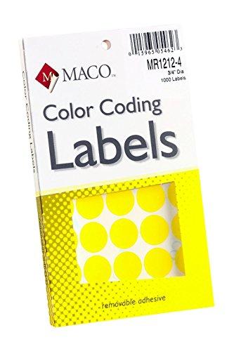 MACO Yellow Round Color Coding Labels, 3/4 Inches in Diameter, 1000 Per Box (MR1212-4) ()