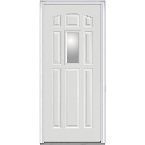 National Door Company Z000558L Fiberglass Smooth Primed, Left Hand In-swing, Prehung Front Door, Center Lite 8-Panel, Clear Glass, 36