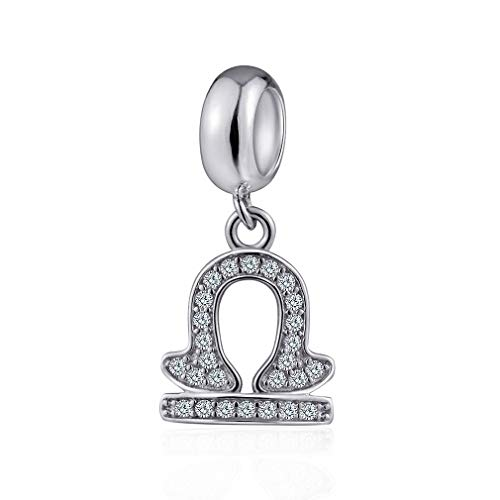 Libra Horoscope Zodiac Sign - Libra Zodiac Sign Charms for Pandora Charm Bracelets - 925 Sterling Silver Necklace Pendants, 12 Constellation/Horoscope Star Dangle - Dangling Birthstone Beads, Birthday Gifts Women/Men/Girls/Boys.