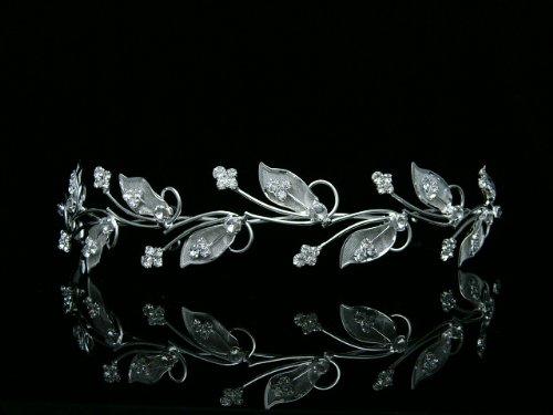 Leaf Design Diamond (Vine Leaf Design Bridal Wedding Bridesmaid Prom Party Tiara Crown - Clear Crystals Silver Plating)