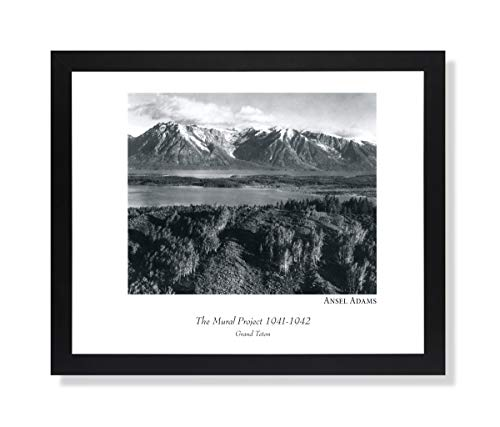 Solid Wood Black Framed Ansel Adams Teton B/W Photo Pictures Art Print