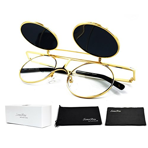 SamuRita Bold Flip Up Small Round Steampunk Sunglasses Polarized Favor Shades(Gold ()