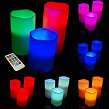 Sentik Set of 3 Colour Changing LED Vanilla Scented Flameless Wax Mood Candles with Timer and Remote Control by Sentik