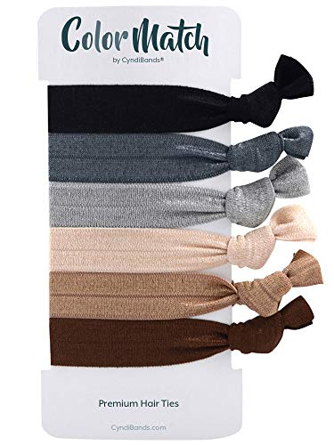 Brown Gray Cream Knotted Ribbon Less Crease Hair Ties (Classic Neutrals) 6 Count -