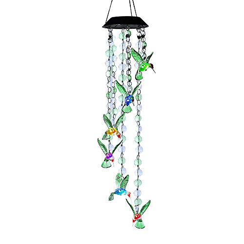 AceList Changing Color HummingbirdBead Wind Chime Spiral Spinner Windchime Portable Outdoor Decorative Romantic Windbell Light for Patio Deck Yard Garden Home Pathway