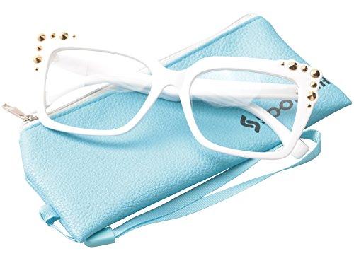 SOOLALA Ladies Oversized Sexy Square Rivet Stylish Frame Reading Glass, White, +2.0