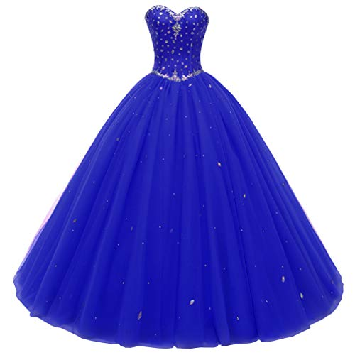 Beautyprom Women's Sweetheart Ball Gown Tulle Quinceanera Dresses Prom Dress (US26W, Royal Blue)