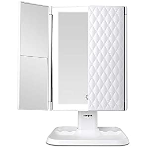 Makeup Mirror Vanity Mirror with Lights – 3 Color Lighting Modes 72 LED Trifold Mirror, Touch Control Design, 1x/2x/3x…