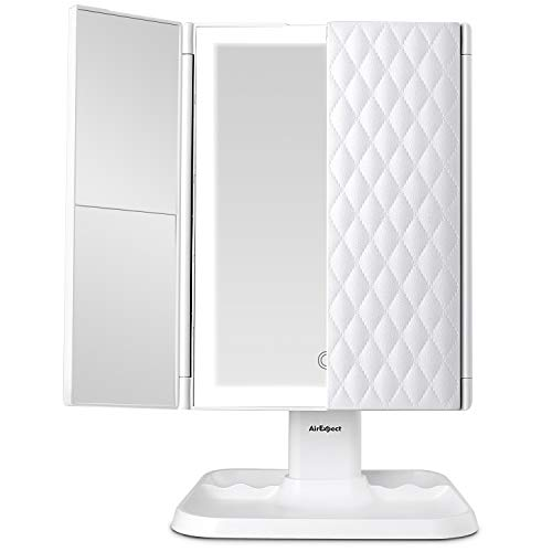 (Makeup Mirror Vanity Mirror with Lights - 3 Color Lighting Modes 72 LED Trifold Mirror, Touch Control Design, 1x/2x/3x Magnification, Portable High Definition Cosmetic Lighted Up Mirror)