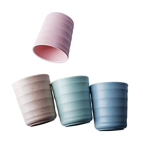 UPSTYLE Eco Friendly Healthy Wheat Straw Biodegradable Bamboo Plastic Mug, Tumbler, Cup for Water, Coffee, Milk, Juice, Tea size 200ml (Pack of 4,Green, Blue, Pink, Yellow) ()